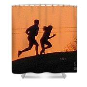Birds And Fun At Butler Park Austin - Jogging - Sunset Run Shower Curtain