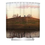 Birds And Fun At Butler Park Austin - Silhouettes 1 Detail Shower Curtain