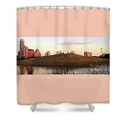 Birds And Fun At Butler Park Austin - Silhouettes 1 Panorama Shower Curtain