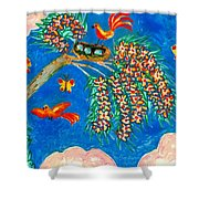 Birds And Nest In Flowering Tree Shower Curtain