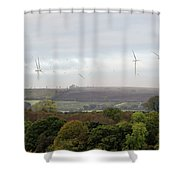 Birds And Wind Turbines  Shower Curtain