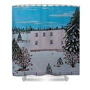 Birds Berries And November Snow Shower Curtain