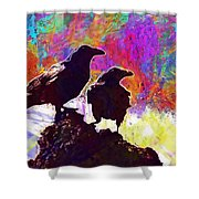 Birds Crow Black  Shower Curtain