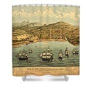 Birds Eye View Map Of San Francisco 1846 Shower Curtain