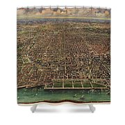 Birds Eye View Of Chicago 1916 Shower Curtain