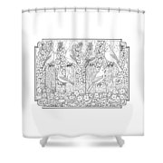 Birds In Flower Garden Coloring Page Shower Curtain