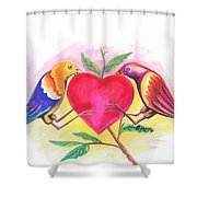 Birds In Love 01 Shower Curtain