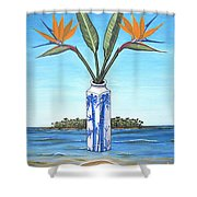Birds Over Paradise Flowers Shower Curtain