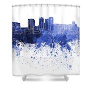 Birmingham Al Skyline In Blue Watercolor On White Background Shower Curtain