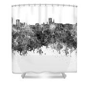 Birmingham Skyline In Black Watercolor On White Background Shower Curtain