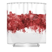 Birmingham Skyline In Red Watercolor On White Background Shower Curtain