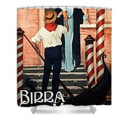 Birra San Marco, Venezia, Italy - Woman With Beer Glass - Retro Travel Poster - Vintage Poster Shower Curtain