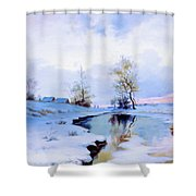Birth Of Spring In The Snow Shower Curtain
