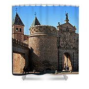 Bisagra Gate Toledo Spain Shower Curtain by Joan Carroll