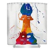 Bishop Chess Piece Paint Splatter Shower Curtain