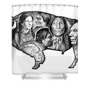 Bison Indian Montage Shower Curtain