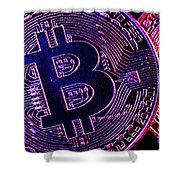 Bitcoin Coins In A Mysterious Lighting Shower Curtain