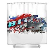 Bite Me Red Graphic Lemon Shark Shower Curtain