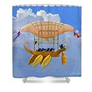 Bizarre Feline-powered Airship Shower Curtain