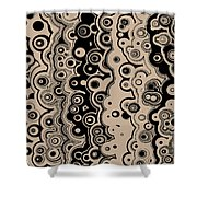 Black And Beige Targets And Lines Shower Curtain