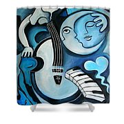 Black And Bleu Shower Curtain