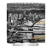 Black And Gold Pittsburgh  Shower Curtain