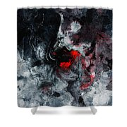 Black And Red Abstract Painting  Shower Curtain