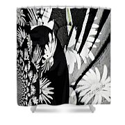 Black And White Abstract Floral Shower Curtain