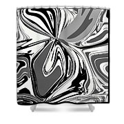 Black And White Abstract Flower Shower Curtain