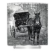 Black And White Amish Buggy Shower Curtain