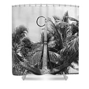 Black And White Anchor Shower Curtain