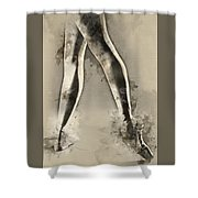 Black And White Ballerina Poster 8  - By Diana Van Shower Curtain
