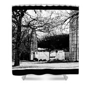 Black And White Barn And Silo Shower Curtain