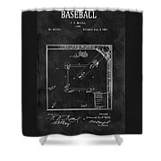 Black And White Baseball Game Patent Shower Curtain