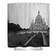 Basilique Du Sacre Coeur In Pre Dawn Paris Bw Shower Curtain