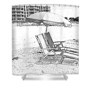 Black And White Beach Chairs Shower Curtain