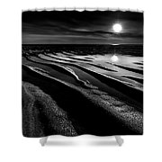 Black And White Beach - Low Tide Shower Curtain
