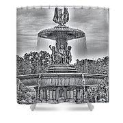 Bedesta Statue Black And White  Shower Curtain