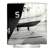 Black And White Boat Reflection Shower Curtain
