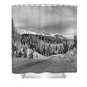Black And White Bow Valley Parkway - Winter Shower Curtain