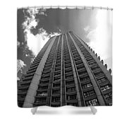 Black And White Brutalist Barbican Shower Curtain