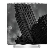 Black And White Buildings Shower Curtain
