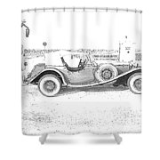 Black And White Car Shower Curtain
