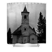 Black And White Church In Williston North Dakota. Shower Curtain