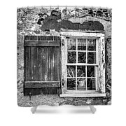 Black And White Cottage Window Shower Curtain