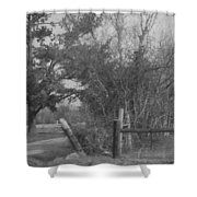 Black And White Country Scene Shower Curtain