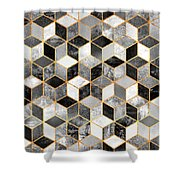 Black And White Cubes Shower Curtain