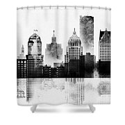 Black And White Detroit Shower Curtain