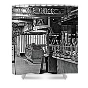 Black And White Diner Shower Curtain