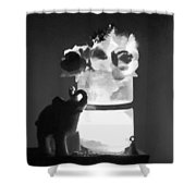 Black And White.  Elephant Shower Curtain